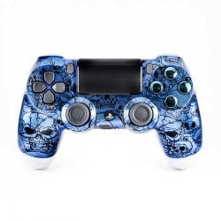 Manette personnalisée PS4 Old Skull Bleu